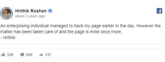 hrithik roshan hacked